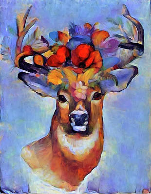 Mixed Media - Oh Deer by Lilia D