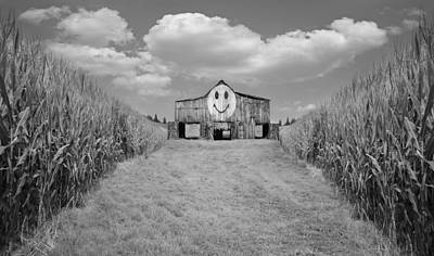 Barnyard Photograph - Oh Happy Day Black And White by Steven Michael