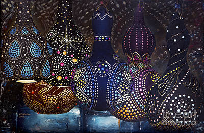 Painted Gourds Painting - Oh My Gourds by Carol Bostan