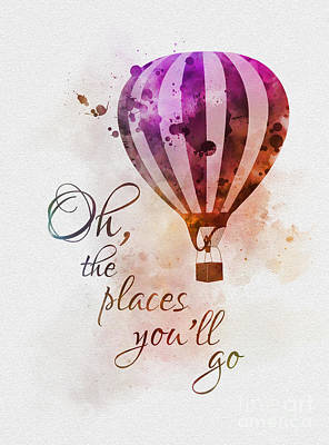 Babies Mixed Media - Oh The Places You'll Go by Rebecca Jenkins