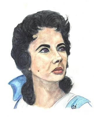 Elizabeth Taylor Drawing - Oh Those Violet Eyes by Carol Wisniewski