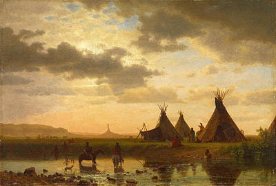 Painting - Ohalilah Sioux Village Wall Art Prints -  Chimney Rock by Albert Bierstadt