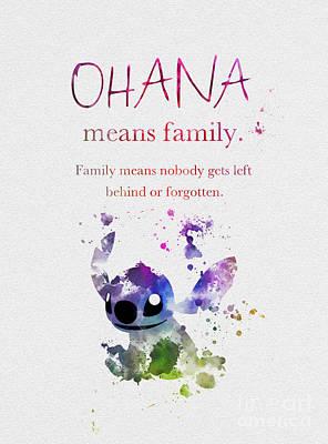 Disney Mixed Media - Ohana Means Family 3 by Rebecca Jenkins