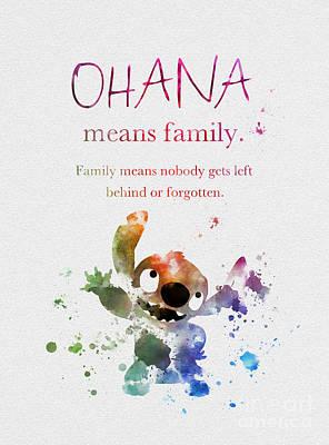 Watercolour Mixed Media - Ohana Means Family by Rebecca Jenkins