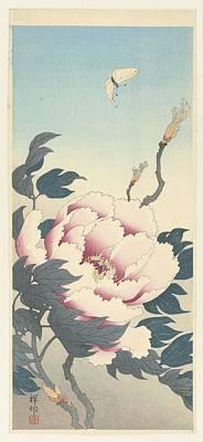 Ohara Koson Art Print by Pioenroos met vlinder