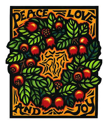 Ohelo Berry Wreath Art Print by Lisa Greig