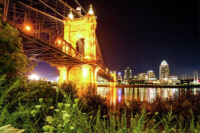 Photograph - Ohio City Nights - Cincinnati Skyline by Gregory Ballos