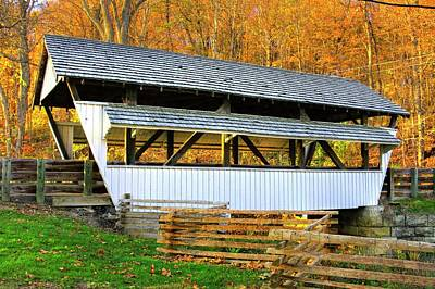 Photograph - Ohio Country Roads - Rock Mill Covered Bridge Over The Hocking River No. 2a - Fairfield County by Michael Mazaika