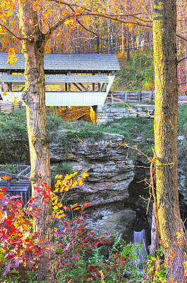 Photograph - Ohio Country Roads - Rock Mill Covered Bridge Over The Hocking River No. 4a - Fairfield County by Michael Mazaika