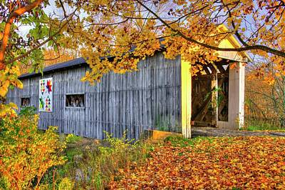 Photograph - Ohio Country Roads - South Denmark Road Covered Bridge Over Mill Creek - Ashtabula County by Michael Mazaika