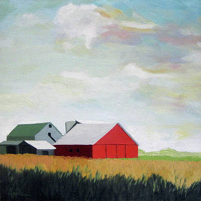 Painting - Ohio Farmland- Red Barn by Linda Apple