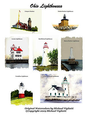 Huron Painting - Ohio Lighthouses Montage by Michael Vigliotti
