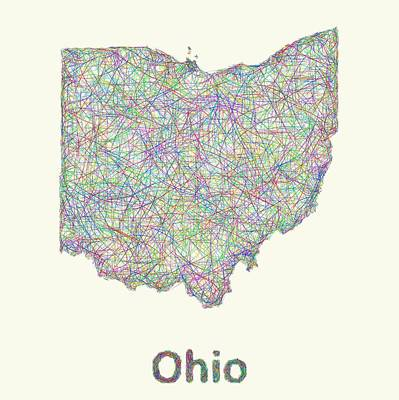 Ohio Digital Art - Ohio Line Art Map by David Zydd