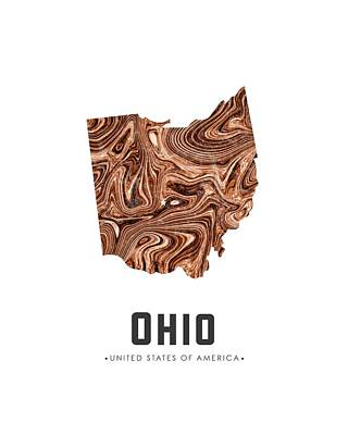 Mixed Media - Ohio Map Art Abstract In Brown by Studio Grafiikka