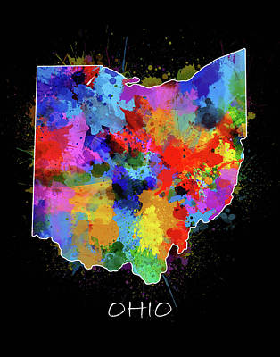 Abstract Map Digital Art - Ohio Map Color Splatter 2 by Bekim Art