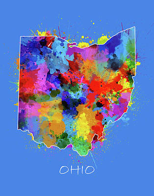 Abstract Map Digital Art - Ohio Map Color Splatter 3 by Bekim Art
