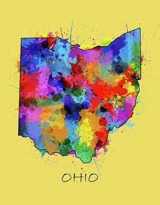 Abstract Map Digital Art - Ohio Map Color Splatter 4 by Bekim Art