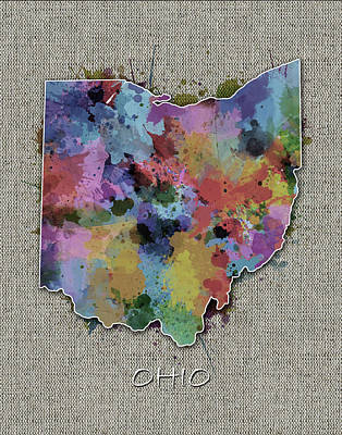Abstract Map Digital Art - Ohio Map Color Splatter 5 by Bekim Art