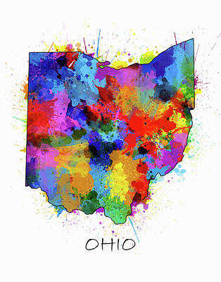 Abstract Map Digital Art - Ohio Map Color Splatter  by Bekim Art
