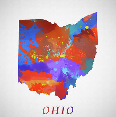 Painting - Ohio Map by Dan Sproul