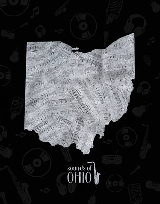 Jazz Royalty-Free and Rights-Managed Images - Ohio Map Music Notes 2 by Bekim Art