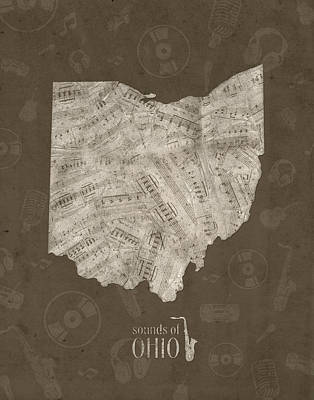 Jazz Royalty Free Images - Ohio Map Music Notes 3 Royalty-Free Image by Bekim M
