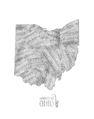 Jazz Royalty-Free and Rights-Managed Images - Ohio Map Music Notes  by Bekim Art