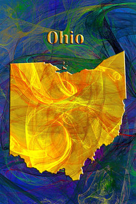 Map Digital Art - Ohio Map by Roger Wedegis