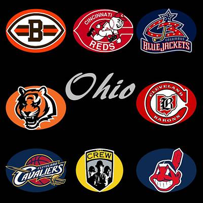 Crew Digital Art - Ohio Professional Sport Teams Collage by Movie Poster Prints