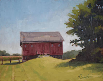 Ohio Painting - Ohio Red Barn by Todd Baxter