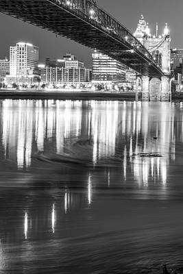 Photograph - Ohio River Swirls - Cincinnati Skyline Black And White by Gregory Ballos