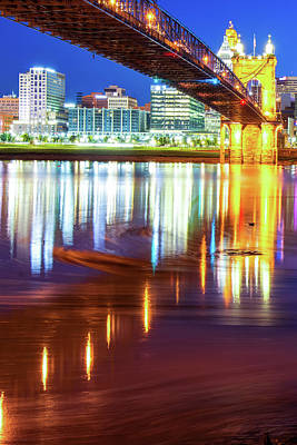 Photograph - Ohio River Swirls - Cincinnati Skyline Color by Gregory Ballos