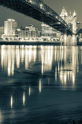 Photograph - Ohio River Swirls - Cincinnati Skyline Sepia by Gregory Ballos