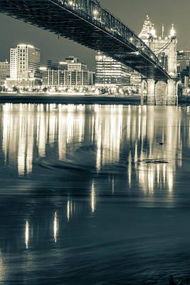 Photograph - Ohio River Swirls - Cincinnati Skyline Sepia by Gregory Ballos