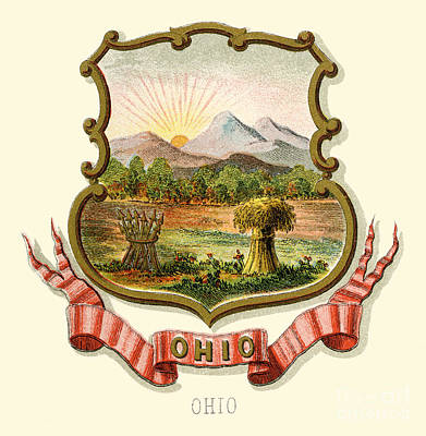 Ohio Painting - Ohio State Arms Of The Union by Celestial Images