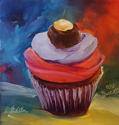 Painting - Ohio State Buckeye Cupcake by Judy Fischer Walton