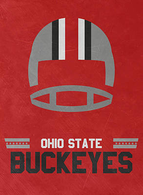 Ncaa Mixed Media - Ohio State Buckeyes Vintage Football Art by Joe Hamilton