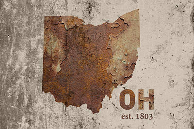 Ohio State Map Industrial Rusted Metal On Cement Wall With Founding Date Series 018 Art Print by Design Turnpike