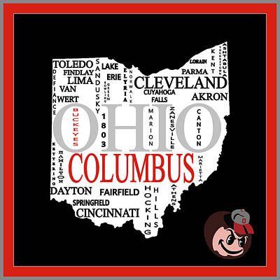 Mixed Media - Ohio State Map Typography by Dan Sproul