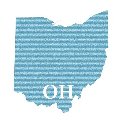 Constitution Mixed Media - Ohio State Map With Text Of Constitution by Design Turnpike