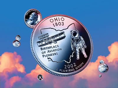 Philadelphia Flyers Digital Art - Ohio State Quarter - Sky Coin 17 by Garrett Burke