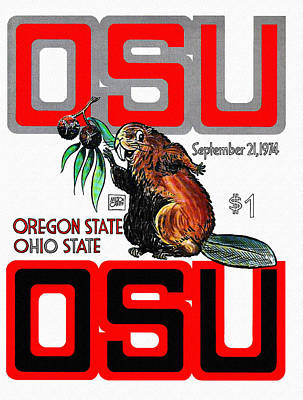Oregon State Painting - Ohio State Versus Oregon State 1974 Program by John Farr