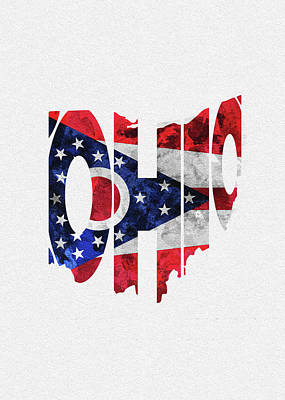 Digital Art - Ohio Typographic Map Flag by Inspirowl Design