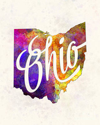 Ohio Painting - Ohio Us State In Watercolor Text Cut Out by Pablo Romero