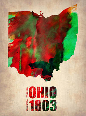 Modern Poster Painting - Ohio Watercolor Map by Naxart Studio