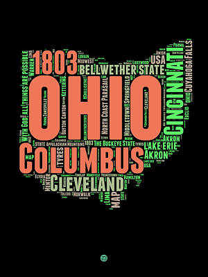 Ohio Word Cloud Map 1 Art Print by Naxart Studio