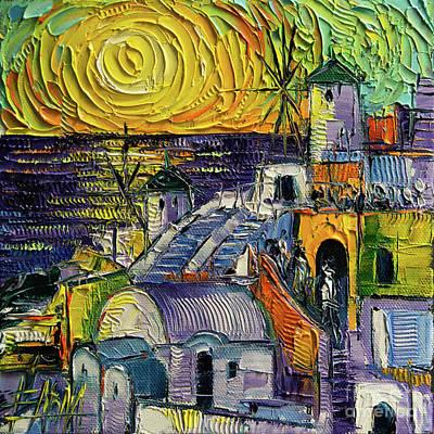 Painting - Oia Impression Textural Impressionist Stylized Cityscape by Mona Edulesco