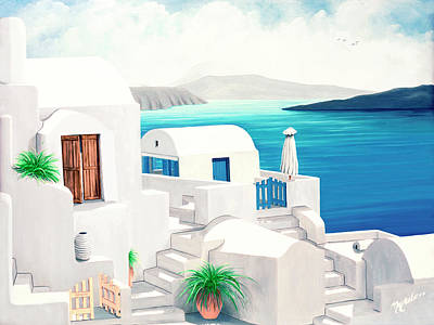 Painting - Oia On Santorini - Prints From My Oil Paintings by Mary Grden Fine Art Oil Painter Baywood Gallery