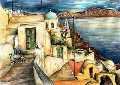 Painting - Oia Santorini Greece - Watercolor by Art America Gallery Peter Potter