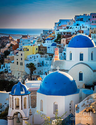 Oia Town Art Print by Inge Johnsson